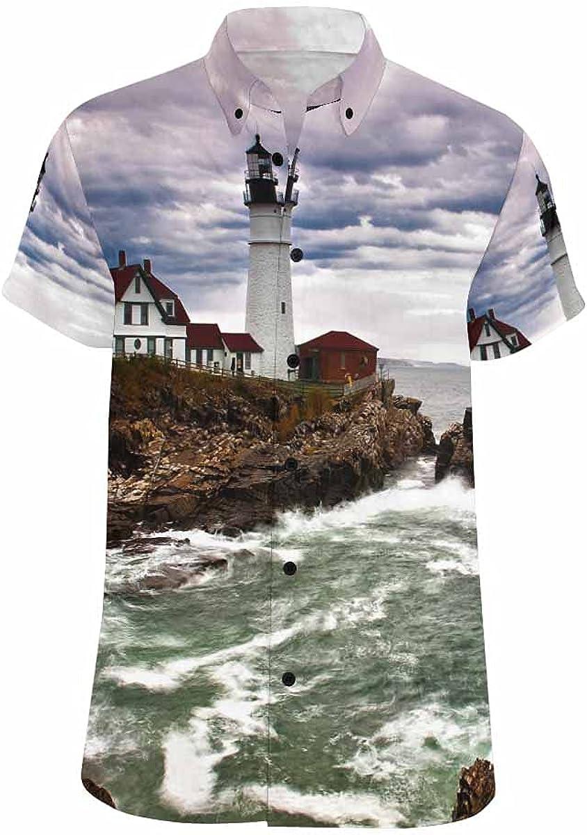 InterestPrint Lighthouse Ocean Relax Spread Collar Tops Hawaiian Casual Beach Shirt for Men