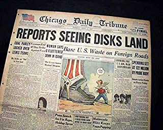 UFO CRAZE Flying Saucers Sightings ALIENS ? Roswell NM Discs ? 1947 Newspaper CHICAGO DAILY TRIBUNE, July 7, 1947