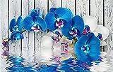 Kit de Pintura de Diamante DIY 5D para Adultos Flores De Orquídeas Azules Completo Diamond Painting Grande Rhinestone Bordado Punto De Cruz Manualidades por Decor Pared del Square Drill 40x50cm M398