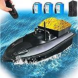 YDDHQ 500m RC Barco Cebador de Pesca, Barco de Cebo de Pesca para Estanques y Lagos, Buscador de Peces Bait Boat con 2 Contenedores de Cebo Independientes, Función de Crucero Automático