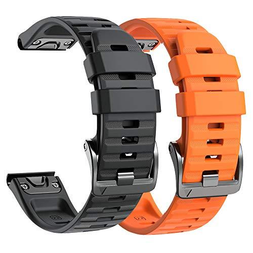 NotoCity Armband für Garmin Fenix 6/Fenix 6 Pro/Fenix 5/Fenix 5 Plus/Forerunner 935/945/Instinct, 22mm Breite Silikon Estrazarmband Quick-Fit Uhrenarmband für Garmin, Mehrfache Farben (Schwarz+Orange)