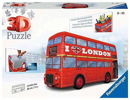 Ravensburger London Bus 216 piece 3D Jigsaw Puzzle for Kids age 8 years and up. These puzzles make ideal London Souvenirs, Desk Tidys or Pencil Pots.