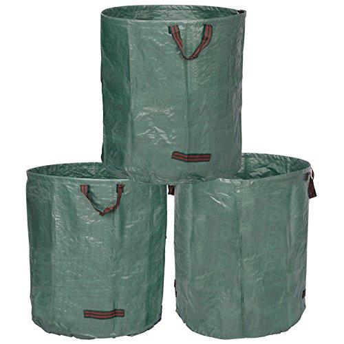 WOLTU® 3X Gartensack 272L XXL Abfallsack Selbstaufstellend Laubsack Gartenabfälle Sack PP Gartenabfallbehälter Gartentasche 150g/m²
