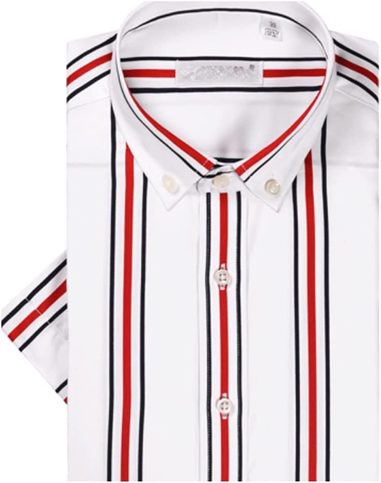 CDQYA Striped Shirts Comfortable Cotton Smart Casual Standard-fit Button Down Collar (Color : Red, Size : Asian 3XL label 43)