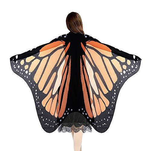 SERWOO Damen Schmetterling Kostüm Schmetterling Schal Flügel Tuch Schmetterlingsflügel Erwachsene Poncho Umhang für Party Weihnachten Kostüm Cosplay Karneval Fasching(168 * 135cm) (Gelb)