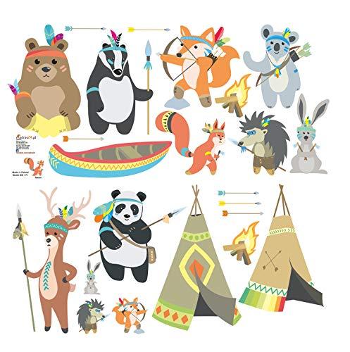 Wandtattoo kinder Tiere Fuchs Teddy Koala Panda Indianer Tribal Babyzimmer Aufkleber Eule Eulen Wandsticker Wand Waldtiere Kinderzimmer Wandaufkleber Dekoration fürs Baby Kindergarten