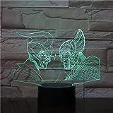 Led Night Light-3D Vision-Seven Colors-Remote Control-Ancient Greek And Roman Warrior Night Light Lámpara De Mesa Multi Iluminación Visual Touch Figura Fresca Juguete Para Niños