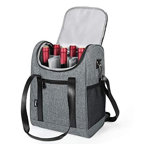 Tirrinia 6 Bottle Wine cooler bag - Insulated & Padded Versatile Wine Carrier Tote Bag for Travel, BYOB Restaurant, Wine Tasting, Party, Best Gift for Wine Lover, Grey