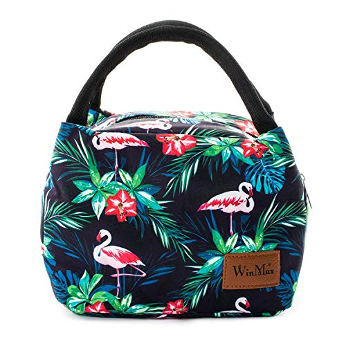 Winmax Isolierte Lunch-Tasche für Erwachsene, Kinder, Damen, Herren, Lunchboxen, Picknick-Taschen, Kühltasche, Bento-Box, für Campen, Reisen Flamingo
