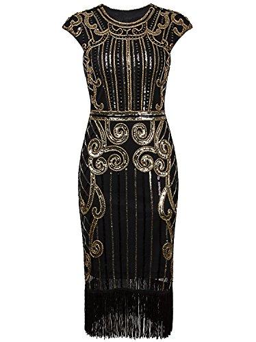Vijiv 1920s Vintage Inspired Sequin Embellished Fringe Long Gatsby Flapper Dress, Glam Gold, L