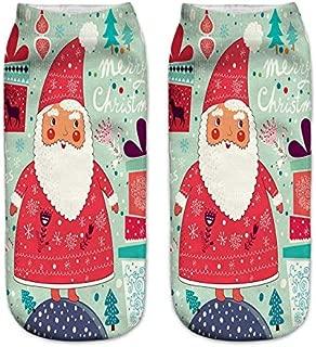 Christmas Socks For Women Fuzzy Santa Elk Print Crew Xmas Funny Casual Sport Socks For Girls Novelty Gifts Winter Warm