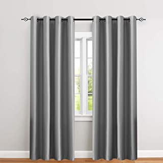 jinchan Faux Silk Satin Blackout Curtains for Living Room Luxury Dupioni Thermal Insulated Grommets Top Drapes for Bedroom, (50-inch x 63-inch, Grey, Pack of Two)