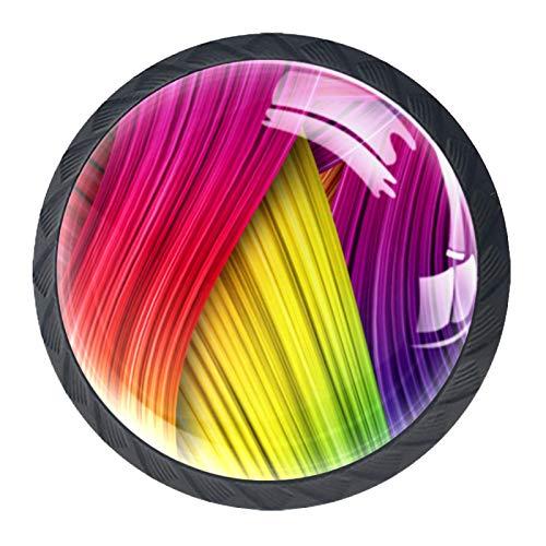 Perillas de Gabinete Redondas Cinta de colores Perillas de Cajón 35mm Tiradores de Muebles con Tornillo Perillas Manijas para Armario Cajón Aparador Cocina 4 Piezas