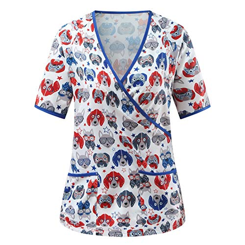 VEMOW Uniforme de Trabajo Camisas para Mujeres Cuello Y Manga Corta, Motivo de Pascua Impreso...