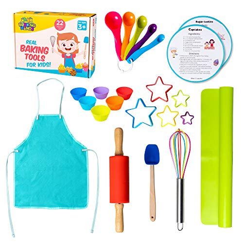 Complete Kids Cooking and Baking Set - 22 Pcs real kids baking set. Includes apron, rolling pin, cookie cutters, mixing whisk, silicone cupcake mold, and mat. Ages 3+