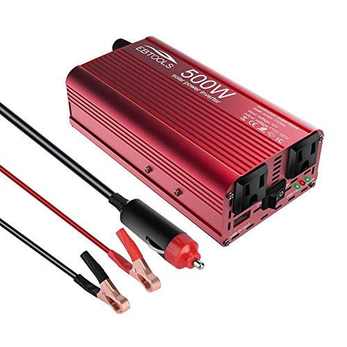 Convertisseur de Voiture, Keenso Convertisseur d'Onduleur de Voiture 500W / 1000W Onduleur 12V CC à 110V avec Port de Charge USB 2.1A Rapide et 2 Prises Secteur