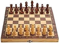 MQJ チェスボードセット折りたたみセットの木の板ゲームの磁気手作りの作られたチェスメンゲームボード,24Cm