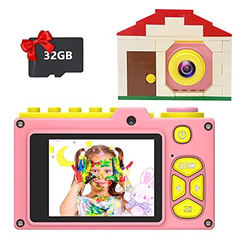 Ukuu Camara Fotos para Niños con Pantalla de 2,0 Pulgadas Selfie Cámara Digital 1080P HD Infantil 32GB TF Tarjeta USB Recargable Video Cámara para Niños 3 a 12 años de Niños y Niñas Cumpleaños