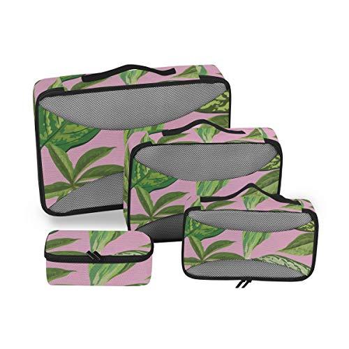Leaves 4pcs Toiletry Bag - Large Cosmetic Makeup Travel Organizer for Men & Women