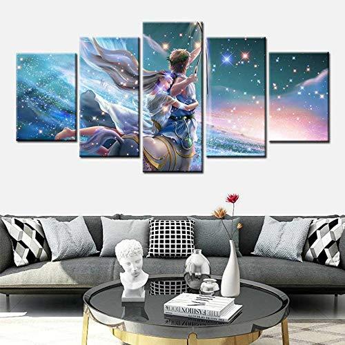 KWzEQ Schütze Sternbild 5 Prinz und Prinzessin Wandbild Leinwand Wandbild Kinderzimmer Hauptdekoration,Rahmenlose Malerei,40x60cmx2, 40x80cmx2, 40x100cmx1