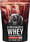 nu3 Whey Protéines Performance - 1kg Fraise - Shake pour prise de masse musculaire rapide à préparer - Excellente solution et délicieux goût fraise - Riche en protéines naturelles