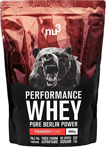 nu3 Performance Whey Protein - Strawberry Blend 1 kg Proteinpulver - Eiweißpulver mit guter Löslichkeit - 22,5 g Eiweiß je Shake - plus Whey Isolate & BCAA - Erdbeere Geschmack - gut für Muskelaufbau