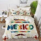 ropa de cama: juego de funda nórdica, decoraciones mexicanas, motivos aztecas tradicionales de México y sombrero de paja, bigote, conjunto de funda nórdica de microfibra hipoalergénica con 2 fundas de