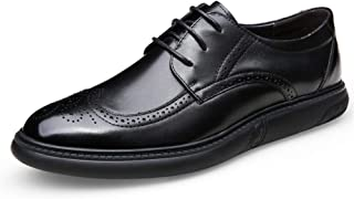 Bin Zhang Dress Oxfords for Men Brogue Carving Shoes Lace up Genuine Leather Pointed Toe Low Flat Heel Solid Color Soft Anti-Skid Perforated (Color : Black, Size : 6 UK)