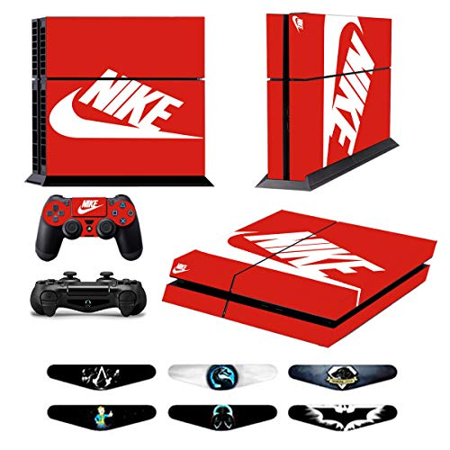 Skins for PS4 Controller - Decals for Playstation 4 Games - Stickers Cover for PS4 Console Sony Playstation Four Accessories PS4 Faceplate with Dualshock 5 Two Controllers Skin -Red & White