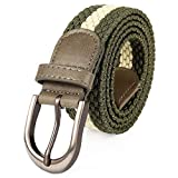 Mile High Life   Braided Stretch Elastic Belt   Pin Oval Satin Nickel Buckle   PU Leather Loop End Tip (Olive White, Large 36
