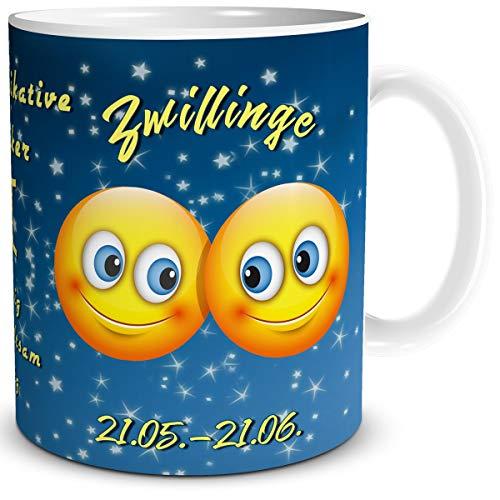 TRIOSK Tasse Smiley mit Spruch lustig Sternzeichen Zwillinge Geburtstagstasse Geschenk für Frauen Männer Kollegen Geburtstag