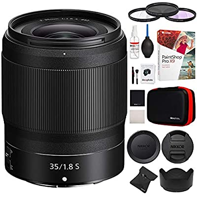 Nikon 20081 NIKKOR Z 35mm f/1.8 S Z Mount System Mirrorless Wide Angle Lens Bundle with 62mm UV, Polarizer & FLD Deluxe Filter kit, Cleaning Kit and Paintshop Pro 2018 Digital Download by Nikon