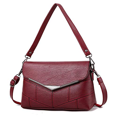 fdhdfh Pu Mother'S Tote Shoulder Bags Women'S Messenger Clamshell Crossbody Bag 26 * 9.5 * 17Cm Red