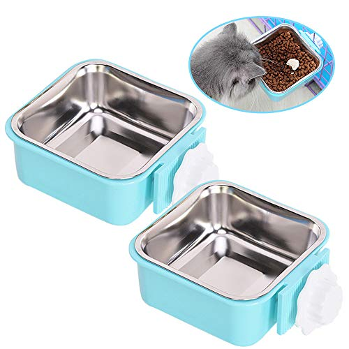 Andiker 2-in-1 Pet Hanging Bowl for Crates & Cages, Plastic Square Dog Water Bowls, Durable Removable Stainless Steel Food Puppy Feeder for Cat, Rabbit, 2 Sizes (L, blue+blue)