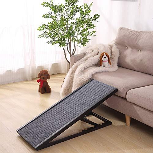 Schwarze Extra Lange Hunderampe, Easy-Fold Lightweight rutschfeste Kletterleiter Aus Holz, für Auto Hochbett Hohe Couch, 80 Kg (Size : 100×40×30-40-50-60cm)