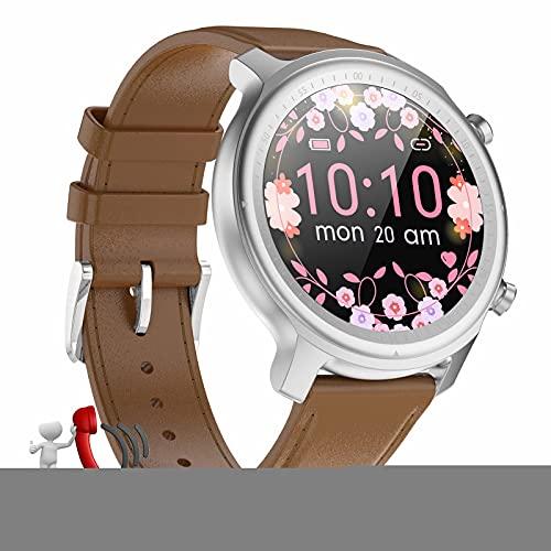 HQPCAHL Fitness Smartwatch Mujer Responder Llamadas,1,28''Bluetooth Reloj Inteligente Mujer Redondo, Monitor De Sueño De Pasos Calorías Rastreador De Salud para Android iOS,A