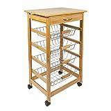 Woodluv Bamboo Kitchen Storage Trolley Cart with Drawer & Wire Storage Basket