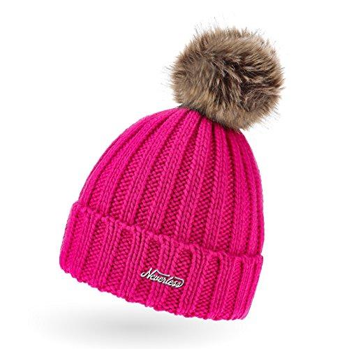 Neverless Damen Strickmütze Grobstrick Kunstfell-Bommel Winter-Mütze pink Unisize