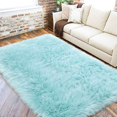 LOCHAS Fluffy Faux Fur Rug for Living Room, Super Soft Sheepskin Area Rug Anti-Skid...