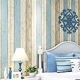 Retro nostálgico papel tapiz no tejido con rayas mediterráneas imitación grano de madera papel tapiz engrosamiento - retro natural azul claro 10m * 53cm