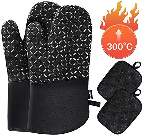 MILcea Ofenhandschuhe Topflappen 4er Set Hitzebeständigkeit Topfhandschuh 300°C Dutch Oven Ofenhandschuh Handschuhe Backhandschuhe Kochhandschuhe Küche Topfhandschuhe für Kochen Backen