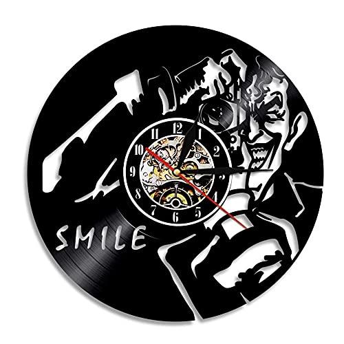 Nzlazbc Reloj de Pared con Disco de Vinilo con Sonrisa de Joker, luz de Fondo Led LP, Reloj Colgante de Pared Vintage para decoración del hogar, Regalo para fotógrafo