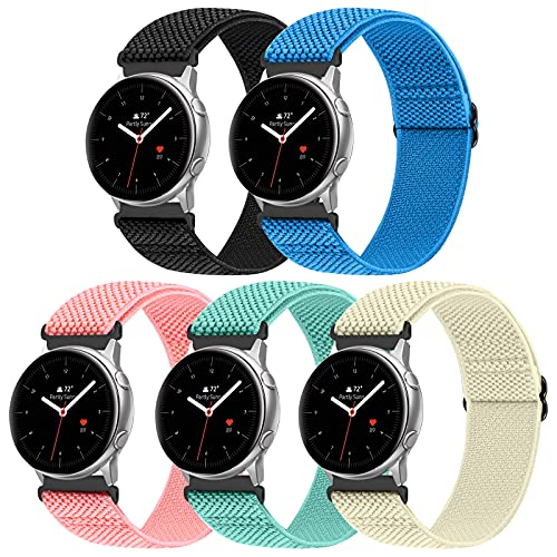 WNIPH 20mm Adjustable Elastic Nylon Braided Solo Loop Bands Compatible with Samsung Galaxy Watch 3 41mm/Galaxy Watch 42mm/Active 2 40mm 44mm/Gear Sport Quick Release Replacement Sport Watch Strap