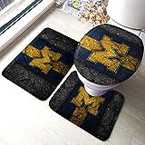Michigan Wolverines University Bath Mat 3 Piece Set Bathroom Carpet Set (Anti-Skid Pads Bath Mat + Contour Pads + Toilet Lid Cover) Mat Anti-Slip Pads Set 24 X 16 Inch