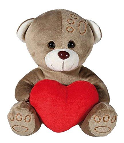OOTB Plüschbär Teddybär mit rotem Herz ca.18 cm Teddy Bär Kuscheltier Kuschelbär: Farbe: Grau