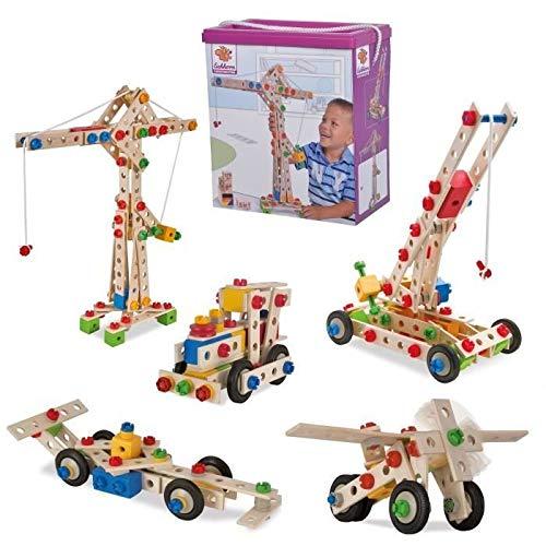 Eichhorn Constructor Kran, vielseitiges Holzspielzeug, 170 Bauteile, 5 verschiedene Konstruktionen, für Kinder ab 6 Jahren