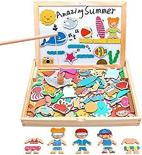 yoptote Puzzle Enfant en Bois 110 Pièces Jeux de Pêche + Tableau Magnetique Enfant Jeu Montessori Educatif Jouet Enfant Fi...