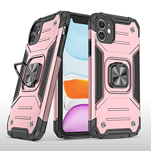 Kesv Funda para iPhone 6 Plus, [Soporte Giratorio Anillo] Cubierta Tough Armor Protector Cover para Teléfono con Screen Protector Vidrio Templado[1 Pack] para iPhone 6 Plus - Oro Rosa