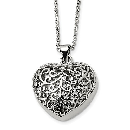 Chisel Stainless Steel Large Filigree Puffed Heart Necklace, 22 Inch