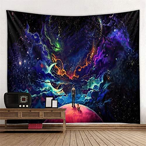 KHKJ Hermoso Tapiz de la Vía Láctea Que Cubre la Pared Tapiz Paisaje montaña Cielo Estrellado Alfombra psicodélica decoración del hogar A1 200x150cm